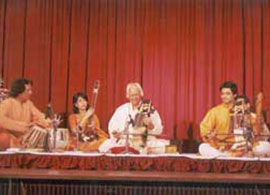 Pandit Ram Narayan accompanied by his grandson Harsh Narayan